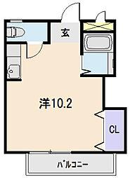JR紀勢本線 相可駅 徒歩1分の賃貸アパート 1階ワンルームの間取り