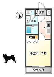 滋賀県東近江市青野町の賃貸アパートの間取り