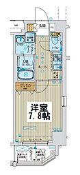 ファーストフィオーレ大阪ウエスト 8階1Kの間取り