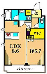 アジールコート東大井 2階1LDKの間取り