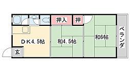 兵庫県神戸市灘区八幡町3丁目の賃貸アパートの間取り