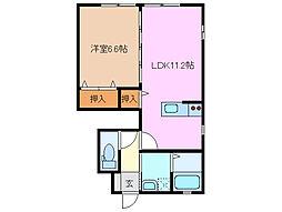 サンガーデン江島B棟[1階]の間取り