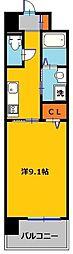 東武宇都宮線 西川田駅 徒歩7分の賃貸マンション 2階1Kの間取り