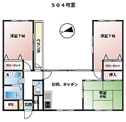 ガーデンカラー丸井[504号室号室]の間取り