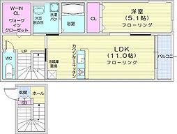 仙台市営南北線 五橋駅 徒歩13分の賃貸アパート 2階1LDKの間取り
