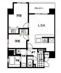 都営大江戸線 両国駅 徒歩10分の賃貸マンション 7階2LDKの間取り