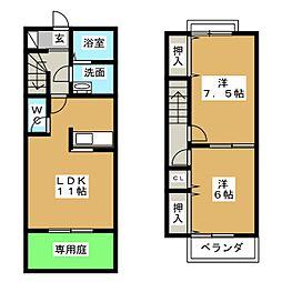 [テラスハウス] 静岡県富士宮市万野原新田 の賃貸【/】の間取り