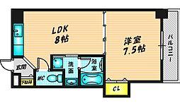晋栄一番館 3階1LDKの間取り