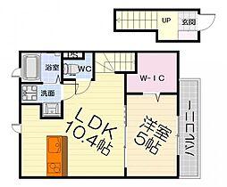南海線 松ノ浜駅 徒歩9分の賃貸アパート 2階1LDKの間取り