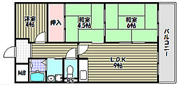 大阪府堺市南区深阪南の賃貸マンションの間取り