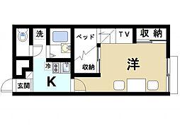 近鉄天理線 前栽駅 徒歩21分の賃貸アパート 2階1Kの間取り