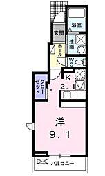JR中央本線 吉祥寺駅 徒歩9分の賃貸アパート 1階1Kの間取り