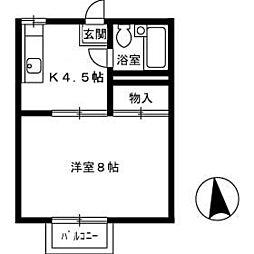 コーポライブラリー B棟[B203号室]の間取り