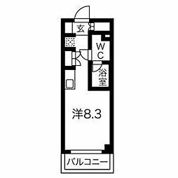 クラリッサ横浜WEST 4階ワンルームの間取り