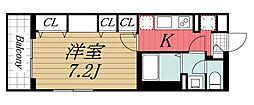 JR内房線 本千葉駅 徒歩11分の賃貸マンション 1階1Kの間取り