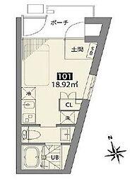 小田急小田原線 梅ヶ丘駅 徒歩7分の賃貸アパート 1階ワンルームの間取り