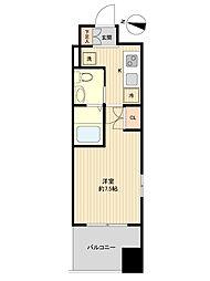 レジディア仙台上杉 3階1Kの間取り