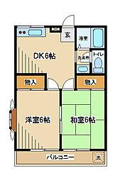 東京都府中市清水が丘3丁目の賃貸アパートの間取り