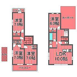 [一戸建] 神奈川県横浜市南区山谷 の賃貸【/】の間取り