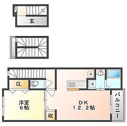 岡山電気軌道清輝橋線 清輝橋駅 徒歩27分の賃貸アパート 3階1LDKの間取り