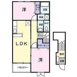 JR瀬戸大橋線 木見駅 徒歩9分の賃貸アパート 2階2LDKの間取り