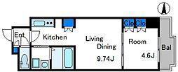 東京メトロ東西線 東陽町駅 徒歩13分の賃貸マンション 7階1LDKの間取り