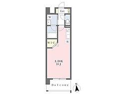 熊本市電B系統 蔚山町駅 徒歩4分の賃貸マンション 11階ワンルームの間取り