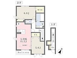 (仮)久木3丁目D-room A棟 2階2LDKの間取り