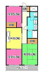 上砂パークマンション[2階]の間取り
