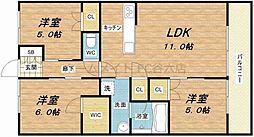 プラウド大阪同心[12階]の間取り