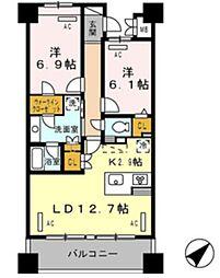 ロイヤルパークス豊洲 4階2LDKの間取り