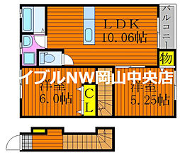 フォレスト平野 東棟 2階2LDKの間取り