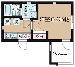 京急本線 八丁畷駅 徒歩5分の賃貸マンション 2階1Kの間取り