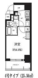 Osaka Metro谷町線 南森町駅 徒歩5分の賃貸マンション 6階1Kの間取り