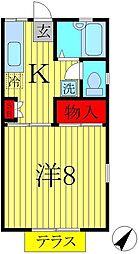 メゾンドヒラヤマA・B[1階]の間取り