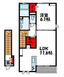 西鉄貝塚線 三苫駅 徒歩11分の賃貸アパート 2階1LDKの間取り