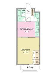 JR総武線 千駄ヶ谷駅 徒歩8分の賃貸マンション 2階1DKの間取り