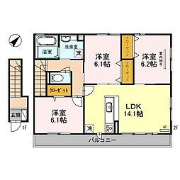 仮称D-Room東池尻[2階]の間取り