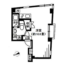 ストゥディオ東大前 2階ワンルームの間取り
