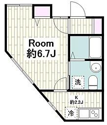 プレミアムコート新横浜 2階1Kの間取り