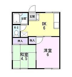 静岡県三島市青木の賃貸アパートの間取り
