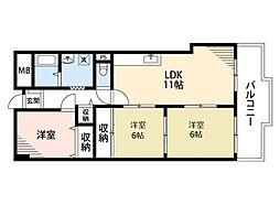 阪急千里線 南千里駅 徒歩19分の賃貸マンション 2階3LDKの間取り