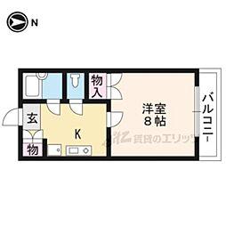 阪急京都本線 桂駅 徒歩9分の賃貸マンション 4階1Kの間取り