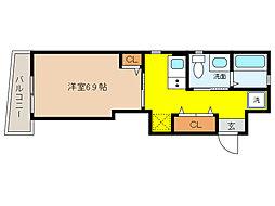 阪神本線 打出駅 徒歩3分の賃貸マンション 4階1Kの間取り