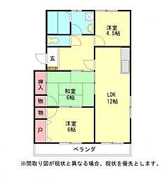 愛知県岩倉市大地町郷前の賃貸マンションの間取り