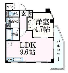 JR東海道・山陽本線 六甲道駅 徒歩12分の賃貸マンション 3階1LDKの間取り