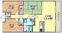 兵庫県神戸市灘区篠原南町3丁目の賃貸マンションの間取り