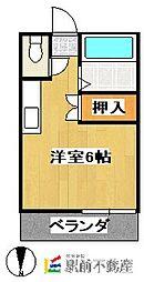 スペースa 2階ワンルームの間取り