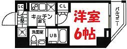 横浜市営地下鉄ブルーライン 吉野町駅 徒歩3分の賃貸マンション 6階1Kの間取り