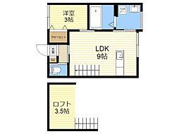 JR日豊本線 隼人駅 徒歩22分の賃貸アパート 2階1SLDKの間取り